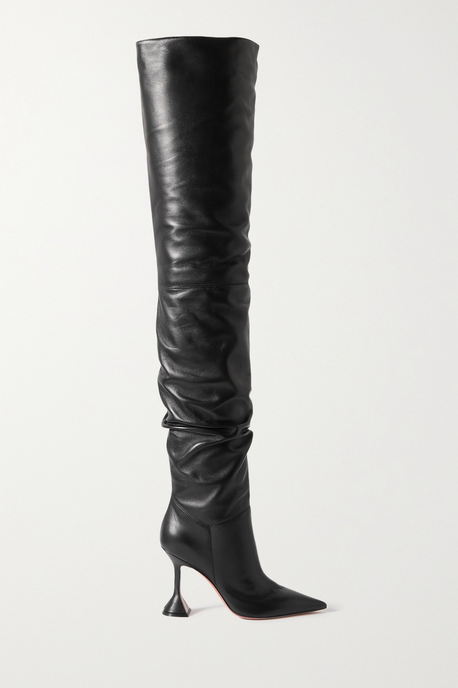 Amina Muaddi Olivia leather thigh boots