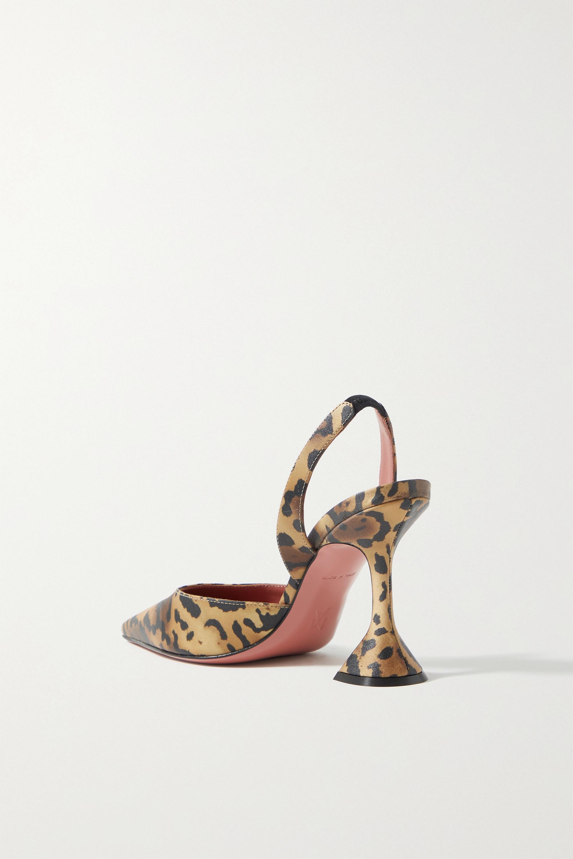 Amina Muaddi Holli leopard-print satin slingback pumps