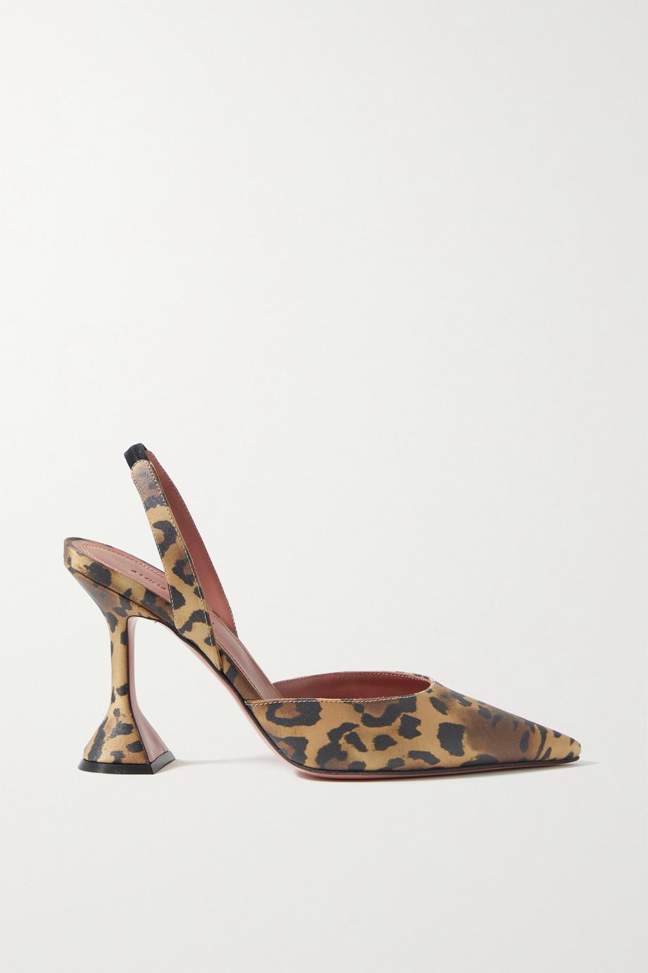 Amina Muaddi Holli Slingback-Pumps aus Satin mit Leopardenprint