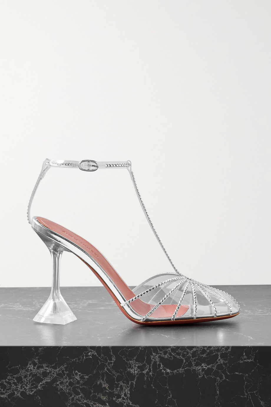 Amina Muaddi Brygit crystal-embellished PVC and mirrored-leather sandals