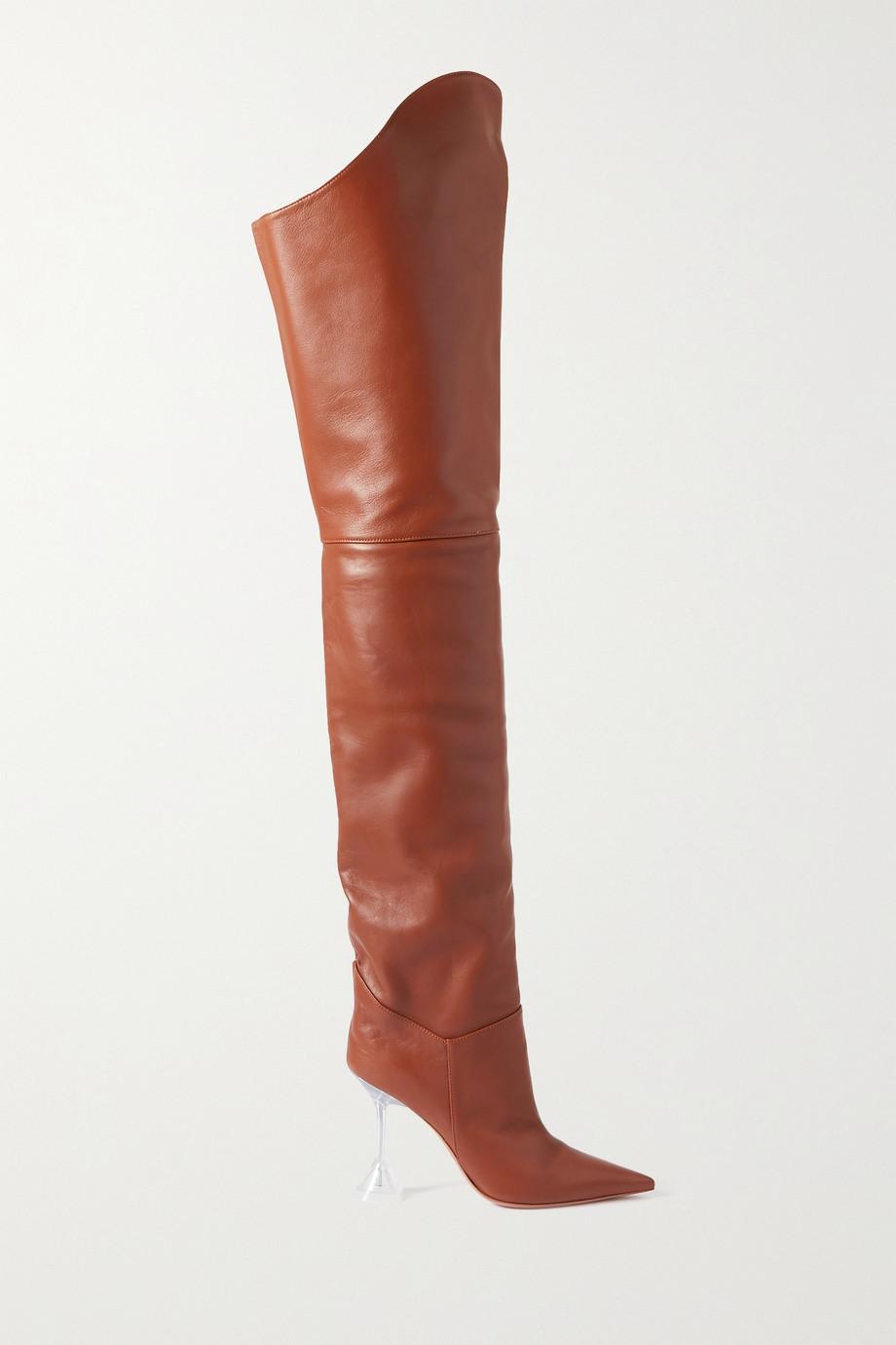 Amina Muaddi Iman leather thigh boots