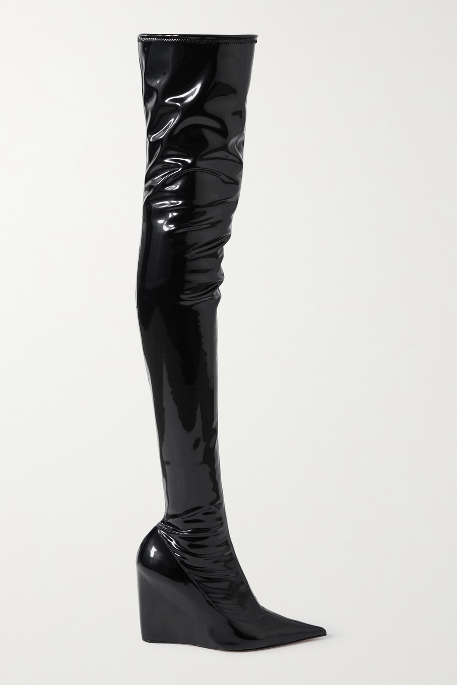 Amina Muaddi Danielle stretch-latex wedge thigh boots