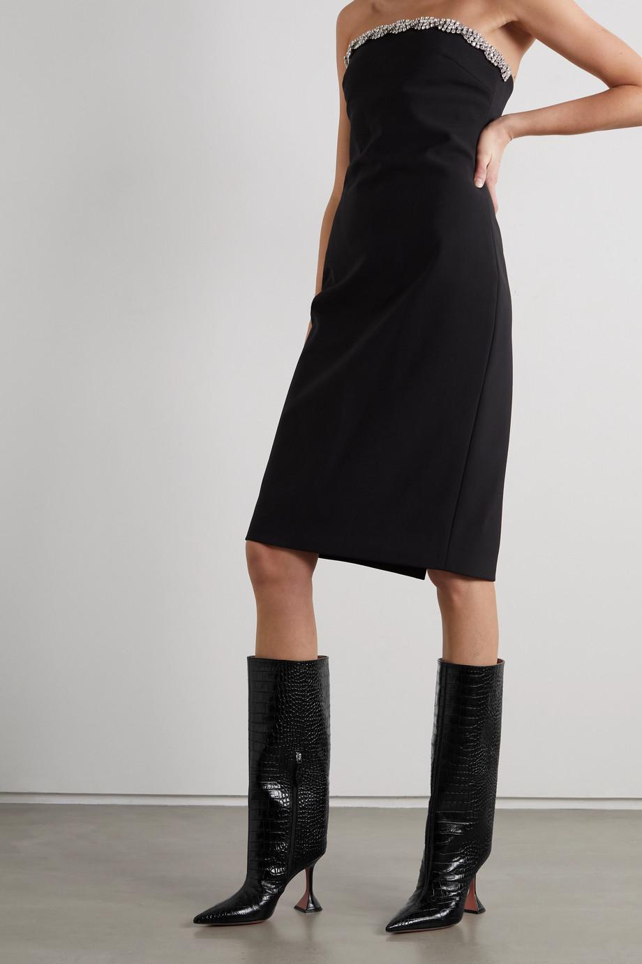 Amina Muaddi Rain croc-effect leather knee boots