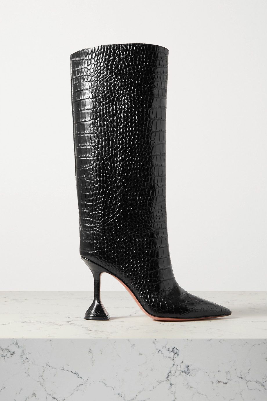 Amina Muaddi Rain croc-effect leather knee boots