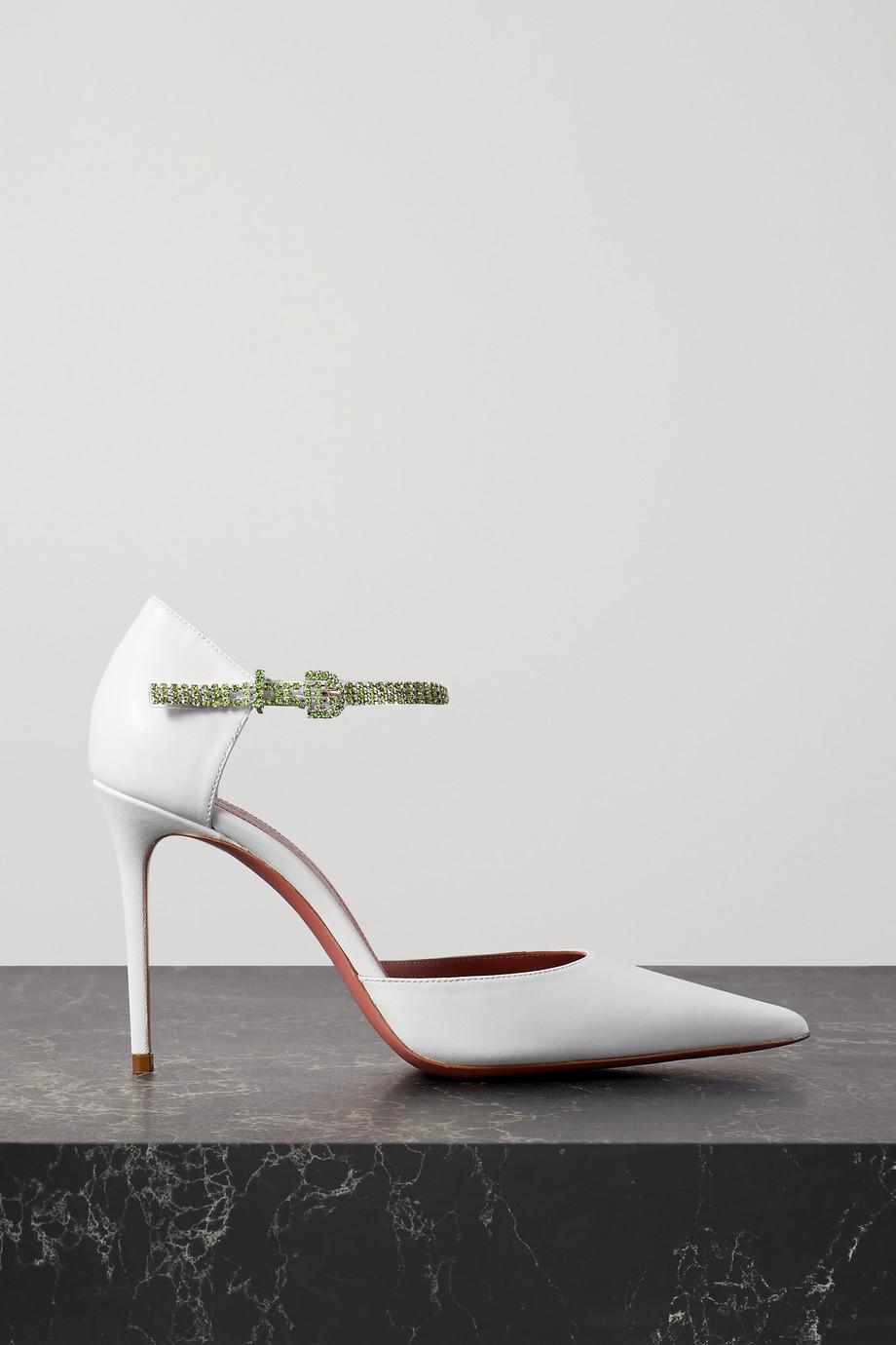 Amina Muaddi Ursina crystal-embellished leather pumps