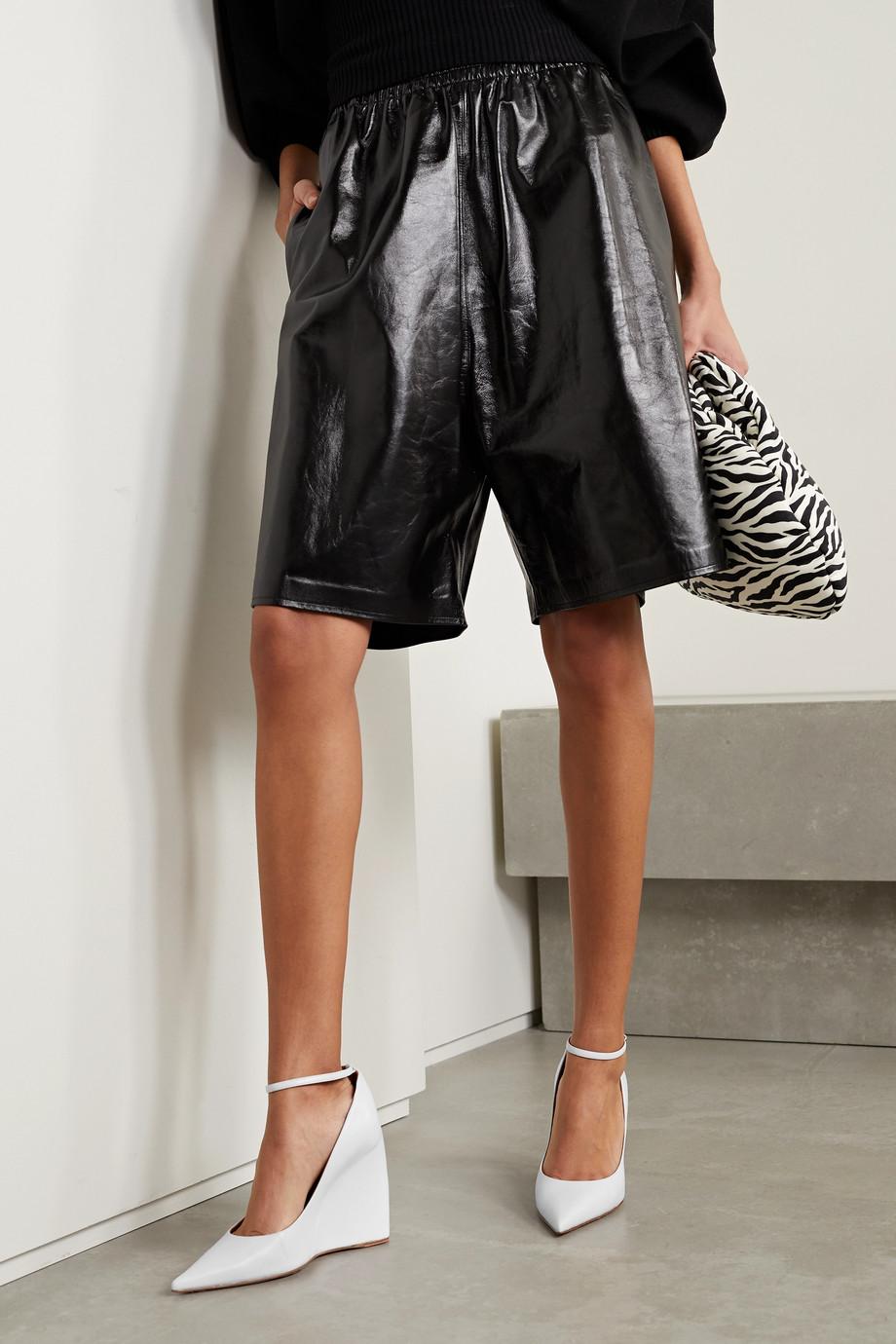 Amina Muaddi Pernille leather wedge pumps