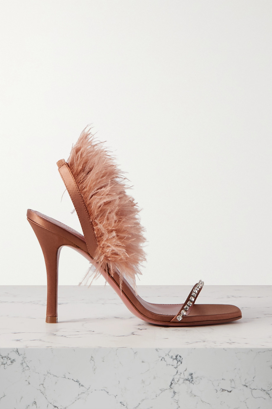 Amina Muaddi Adwoa crystal and feather-embellished satin slingback sandals