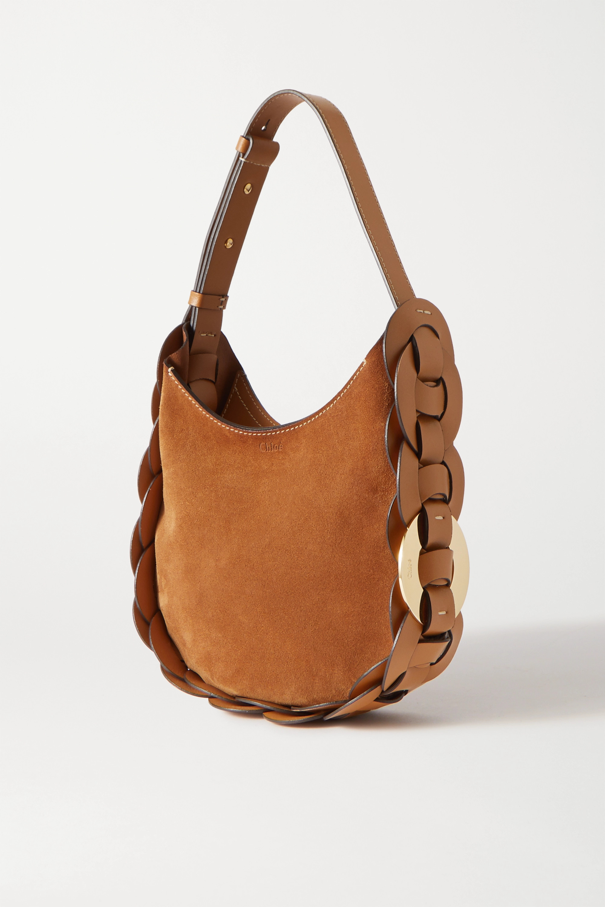 Chloé Darryl small braided leather and suede shoulder bag