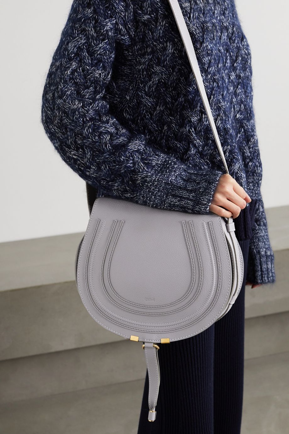 Chloé Marcie mittelgroße Schultertasche aus strukturiertem Leder