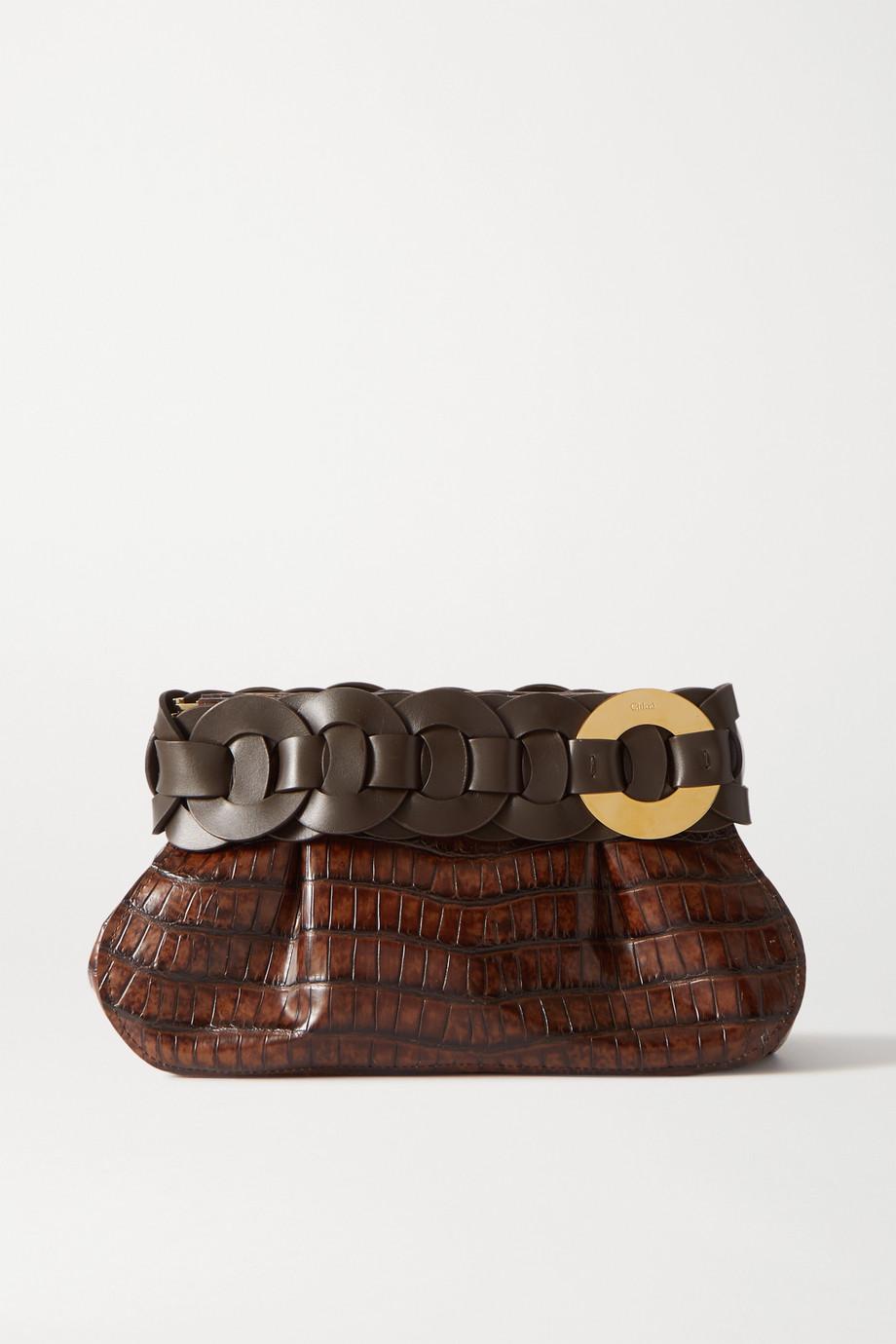 Chloé Darryl Clutch aus Leder mit Krokodileffekt und Flechtdetail
