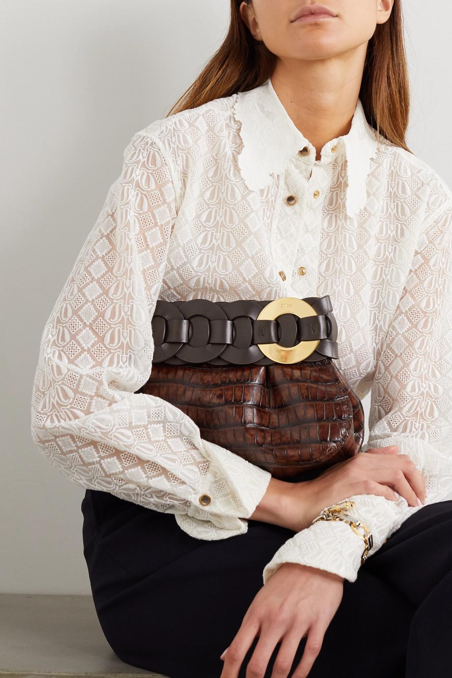 Chloé Darryl braided croc-effect leather clutch