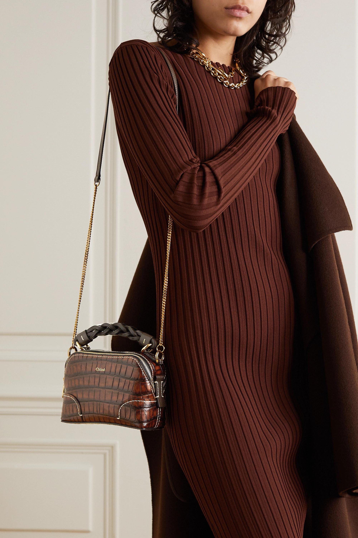 Chloé Daria mini croc-effect leather shoulder bag