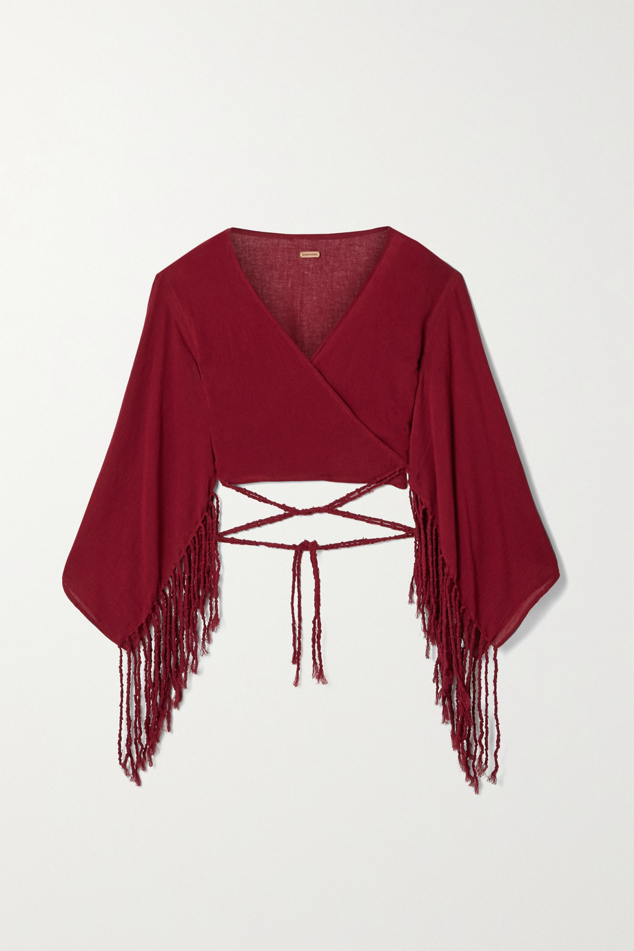 Caravana + NET SUSTAIN Naira cropped fringed cotton-gauze top