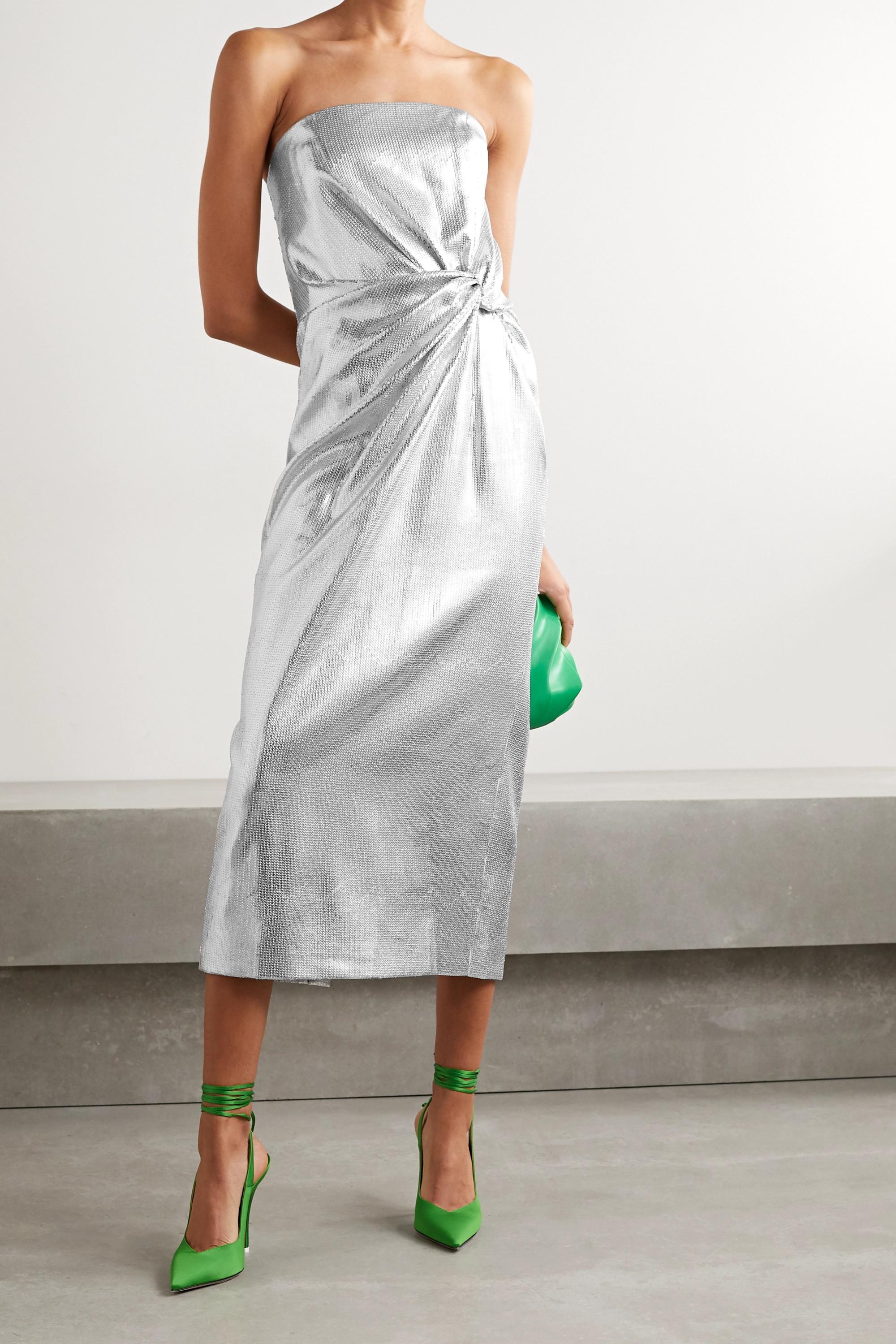 Silver Crepe Midi Dress