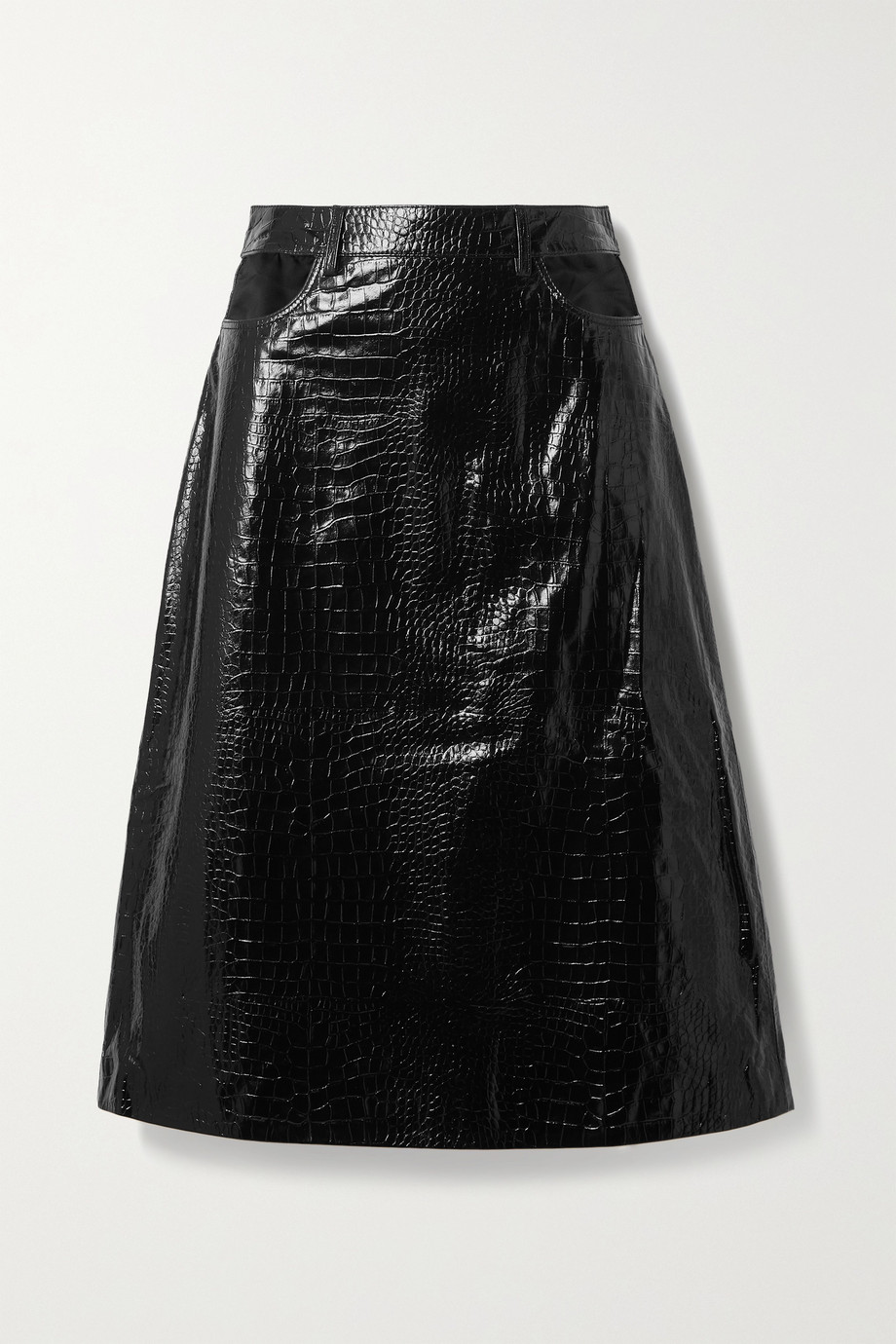 Dodo Bar Or Perla cutout croc-effect leather skirt