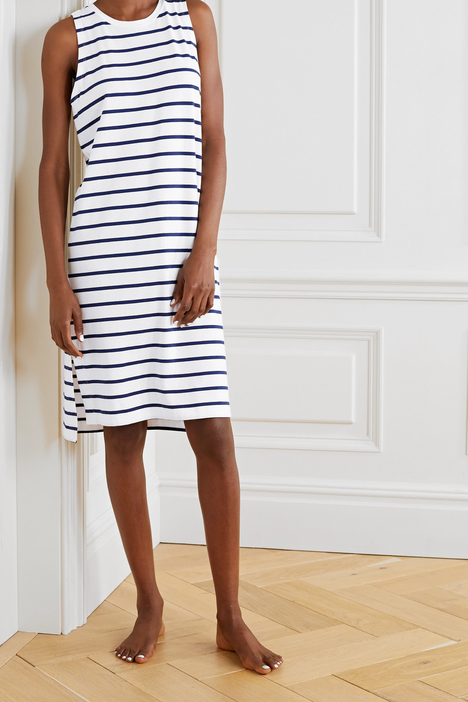 Skin Elanie striped stretch-jersey dress