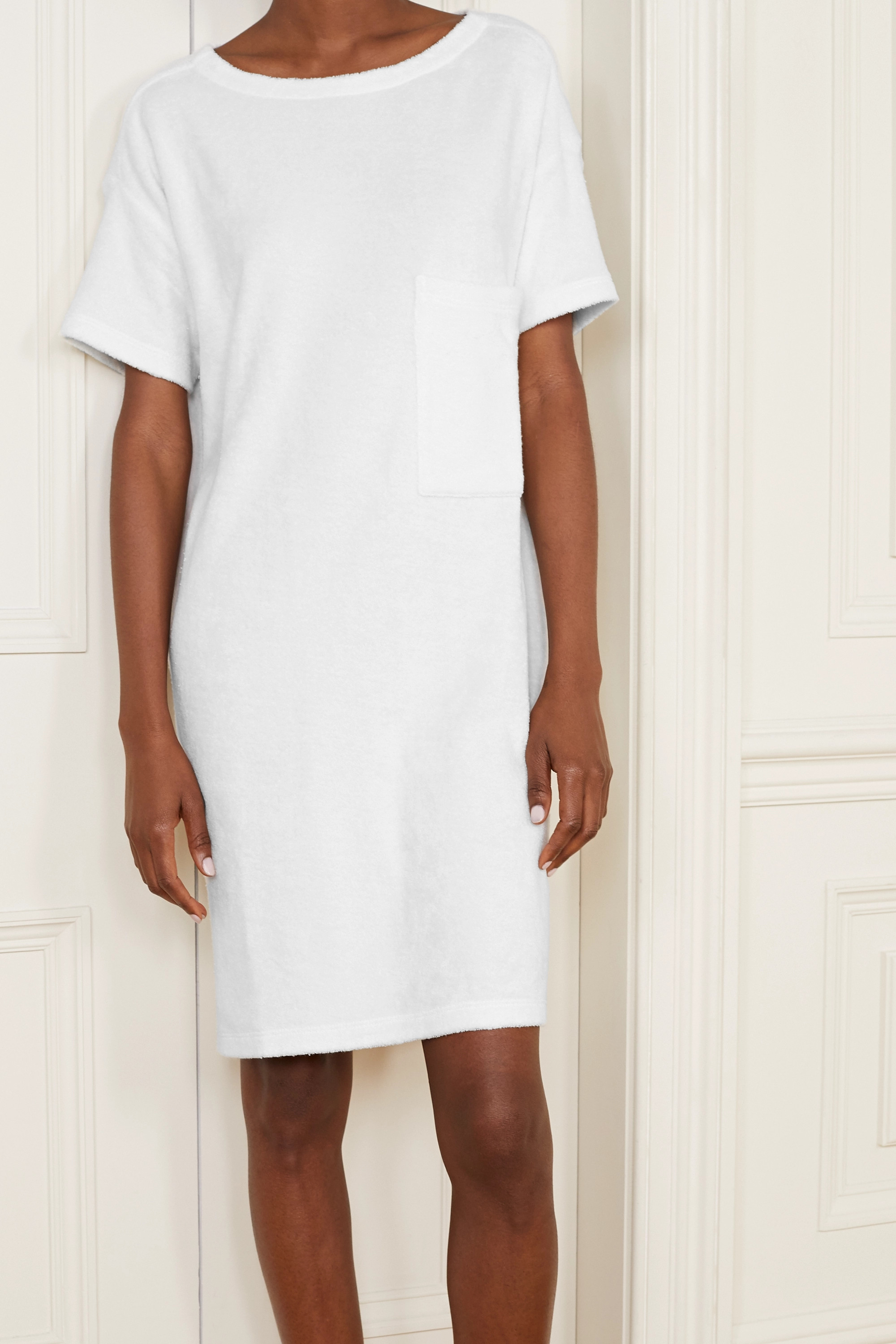 Skin Yael textured cotton-blend terry nightdress