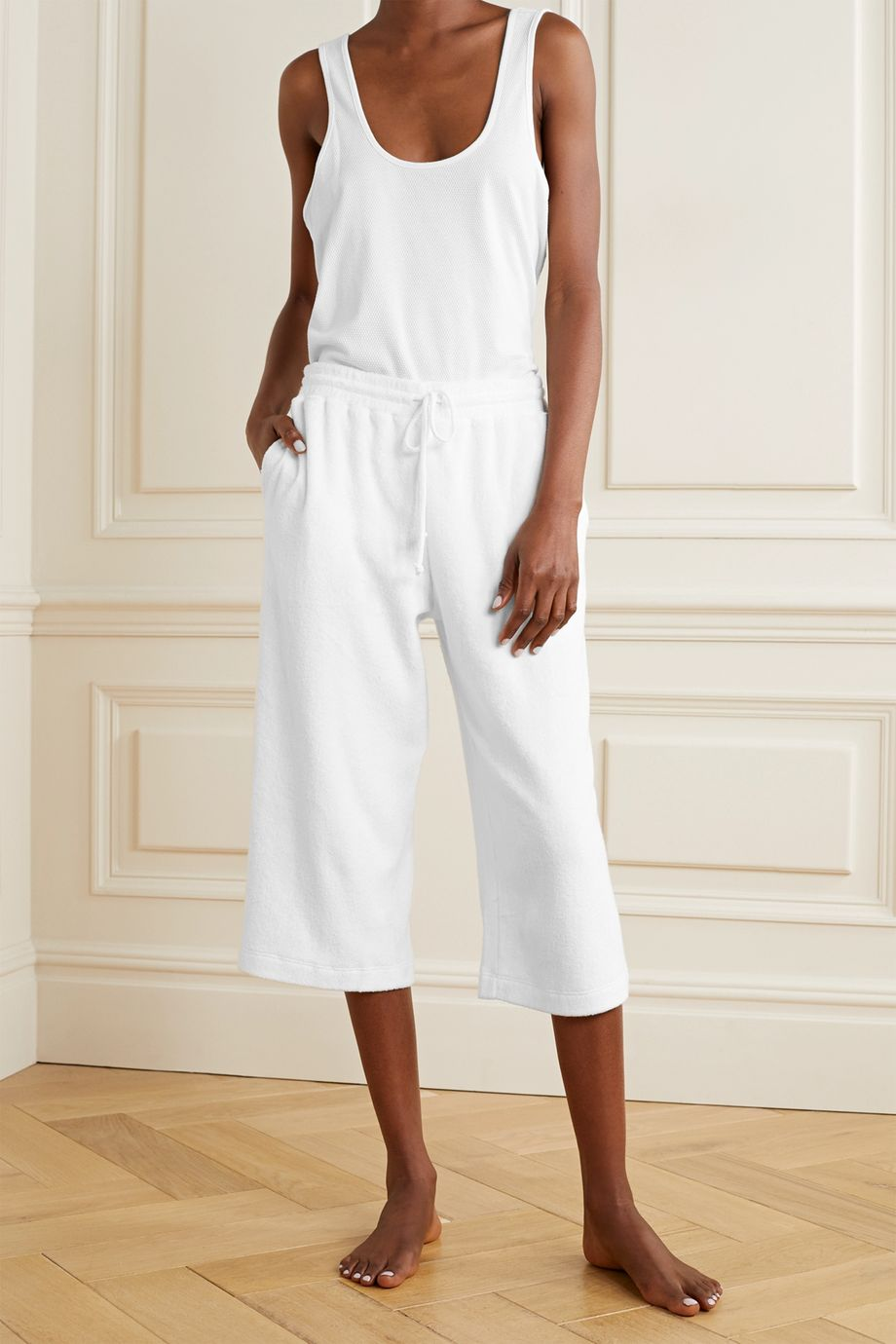 Skin Yulia cropped textured cotton-blend terry pajama pants