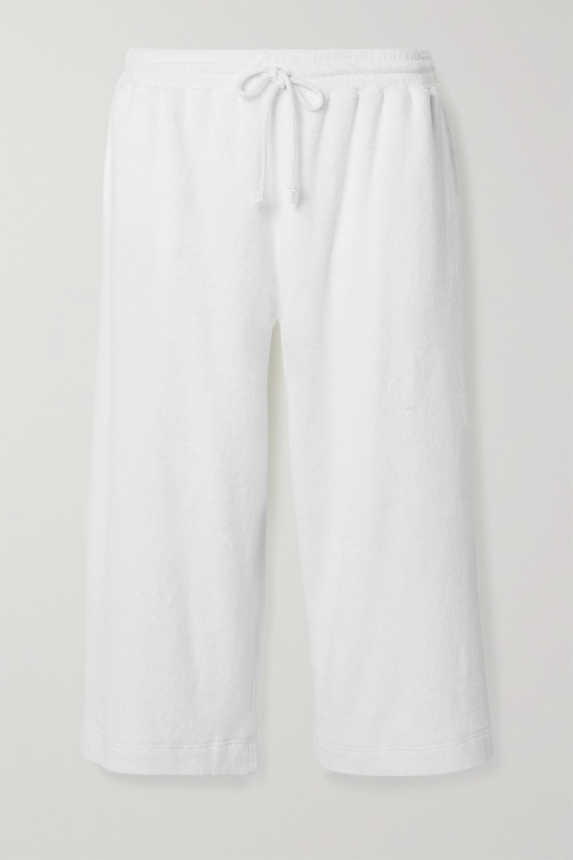 Skin Yulia cropped textured cotton-blend terry pajama pants