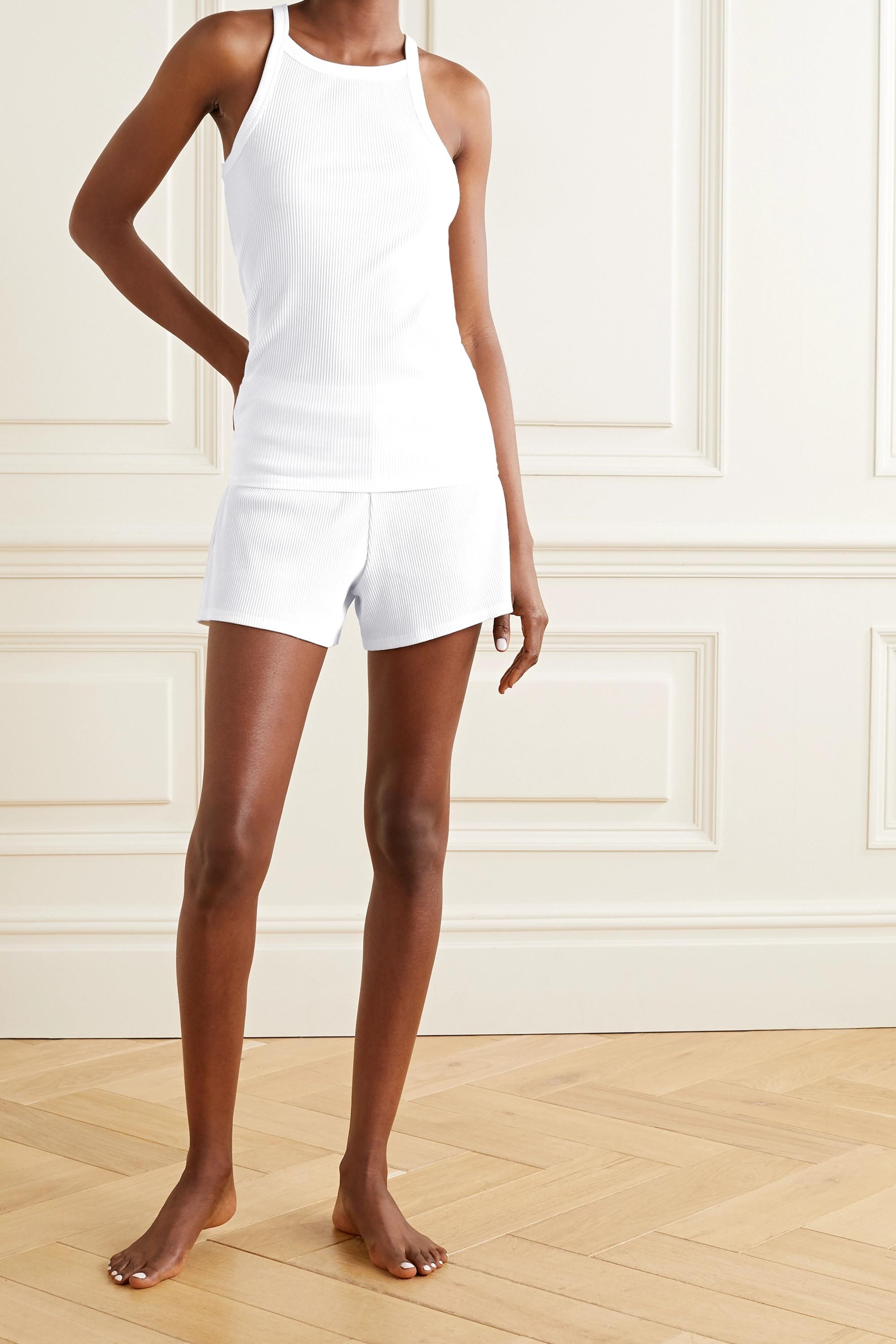 Skin Indigo ribbed stretch-Pima cotton jersey shorts
