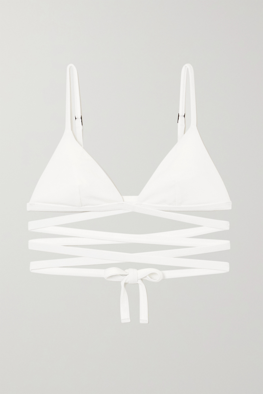 Matteau + NET SUSTAIN Triangel-Bikini-Oberteil in Knitteroptik zum Binden