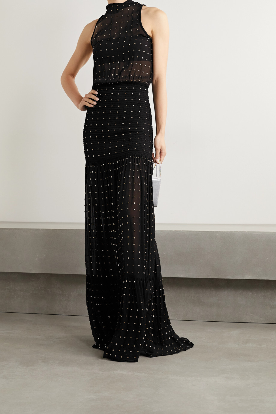 Retrofête Abby embellished shirred silk-crepon halterneck maxi dress