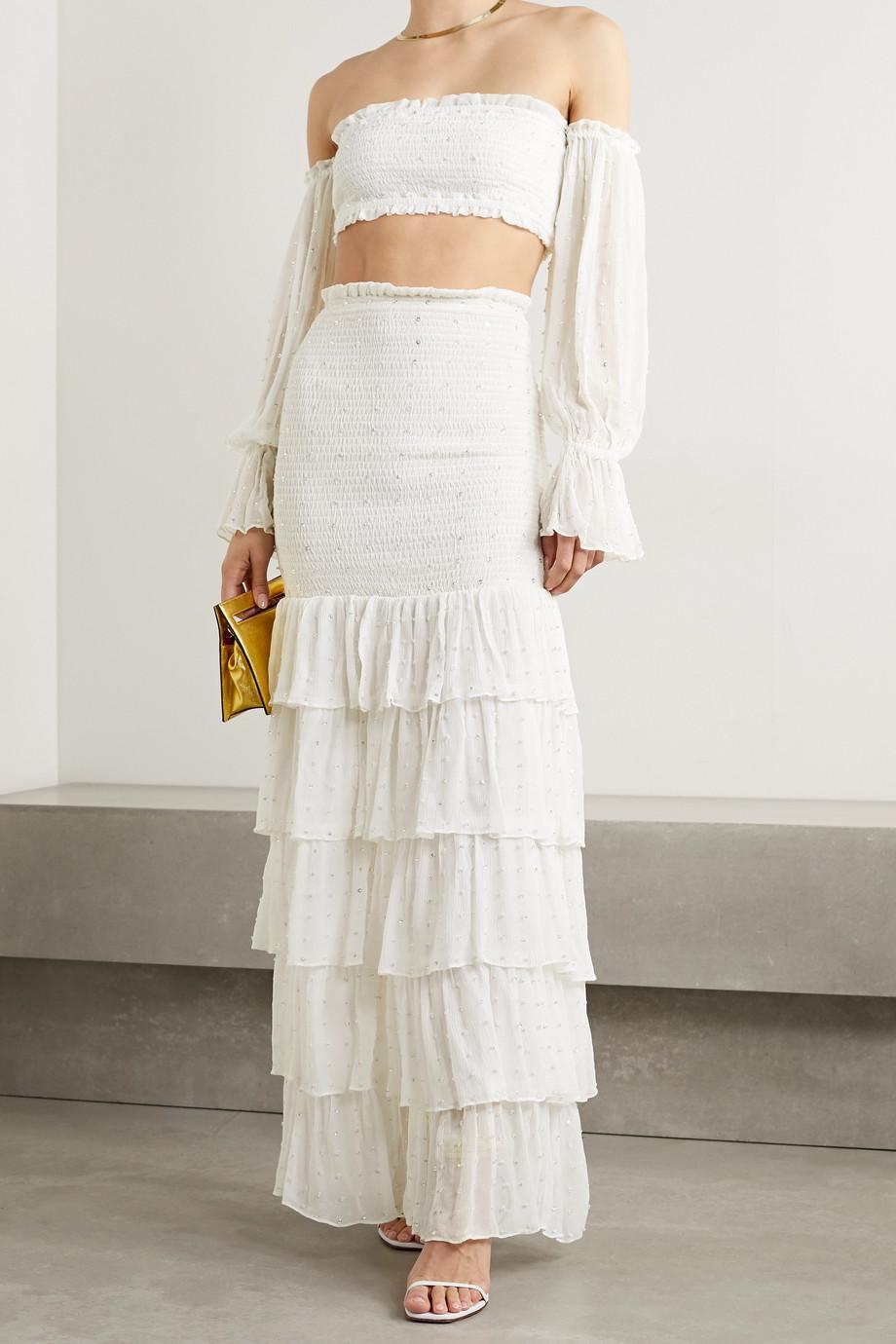 Retrofête Lindsey shirred tiered embellished silk-crepon maxi skirt