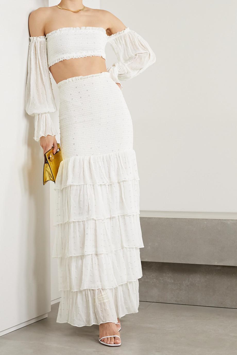 Retrofête Paige cropped embellished shirred silk-crepon top