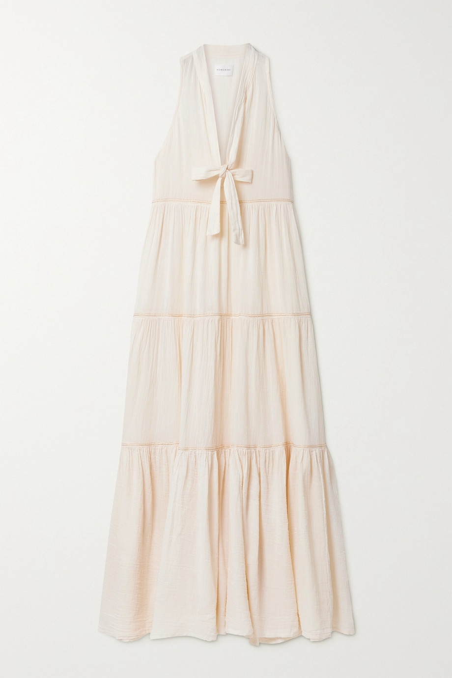 Honorine Eve tiered metallic-trimmed crinkled cotton-gauze maxi dress