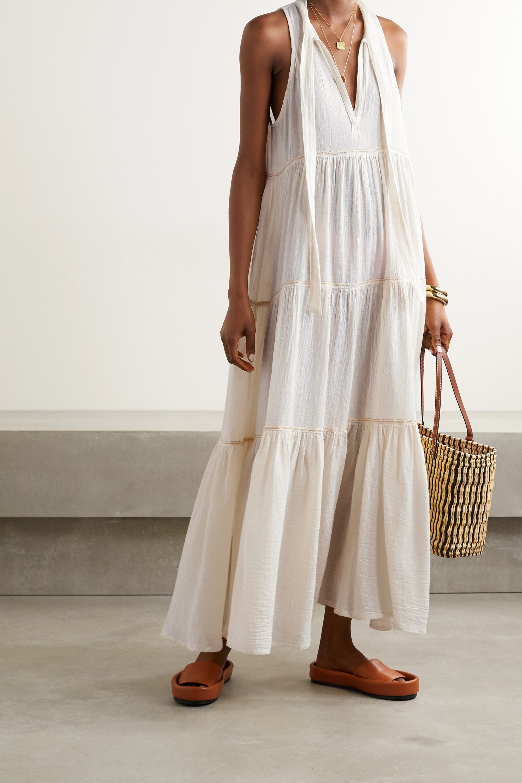 Honorine Eve tiered metallic-trimmed crinkled cotton-gauze maxi dress