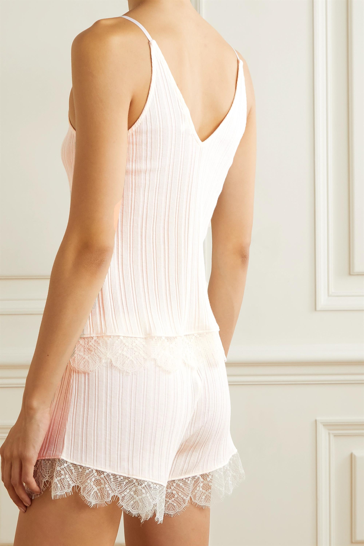 Skin Becca lace-trimmed ribbed Pima cotton pajama set