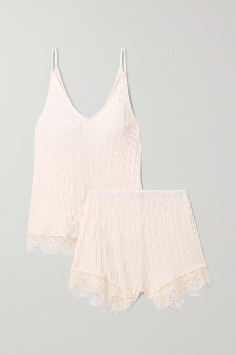 Skin Becca lace-trimmed ribbed Pima cotton pajama set