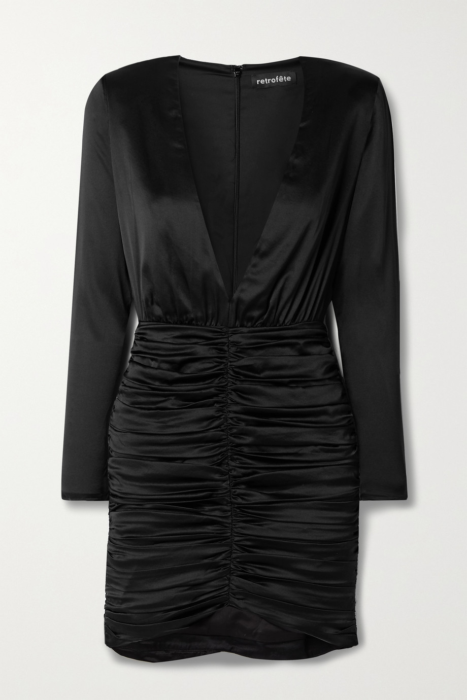 Retrofête Brea ruched silk-blend satin mini dress