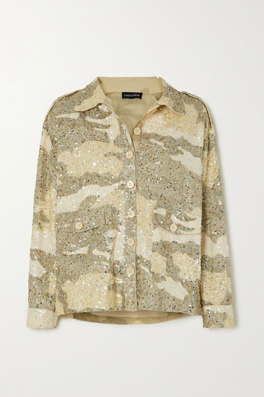 Retrofête Idan Jacke aus Baumwolle mit Camouflage-Print und Pailletten