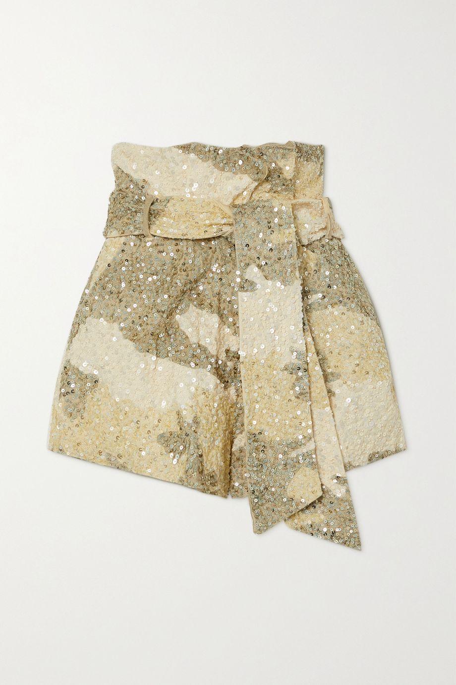 Retrofête Jo Shorts aus Baumwolle mit Camouflage-Print, Pailletten und Bindegürtel