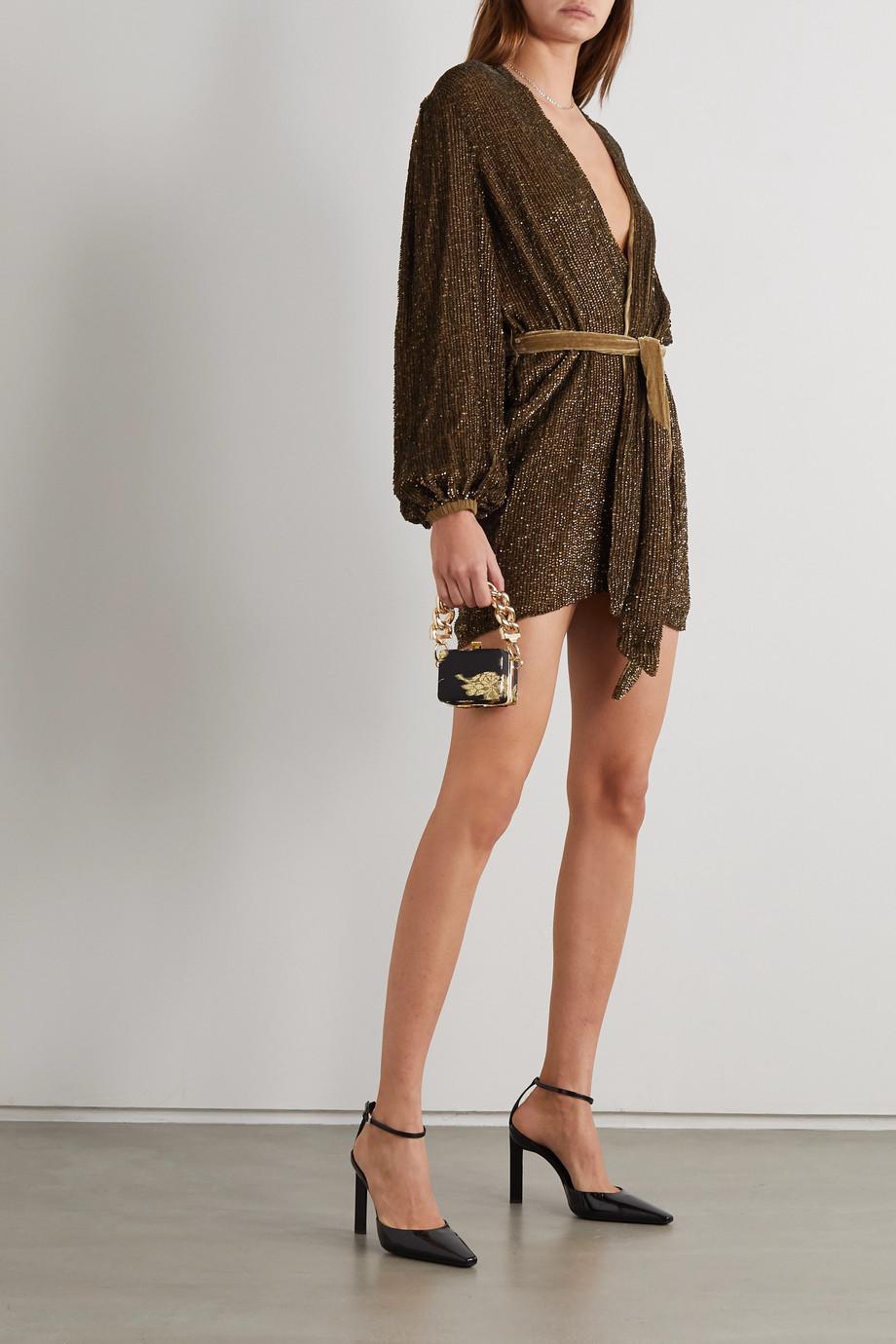 Retrofête Mini-robe portefeuille en mousseline à sequins et à ceinture Gabrielle