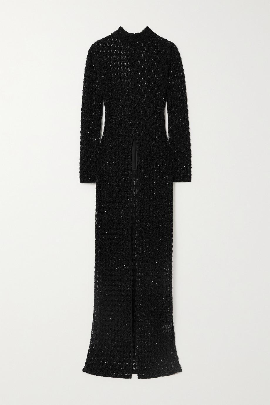 Retrofête Poppy embellished crochet-knit tunic