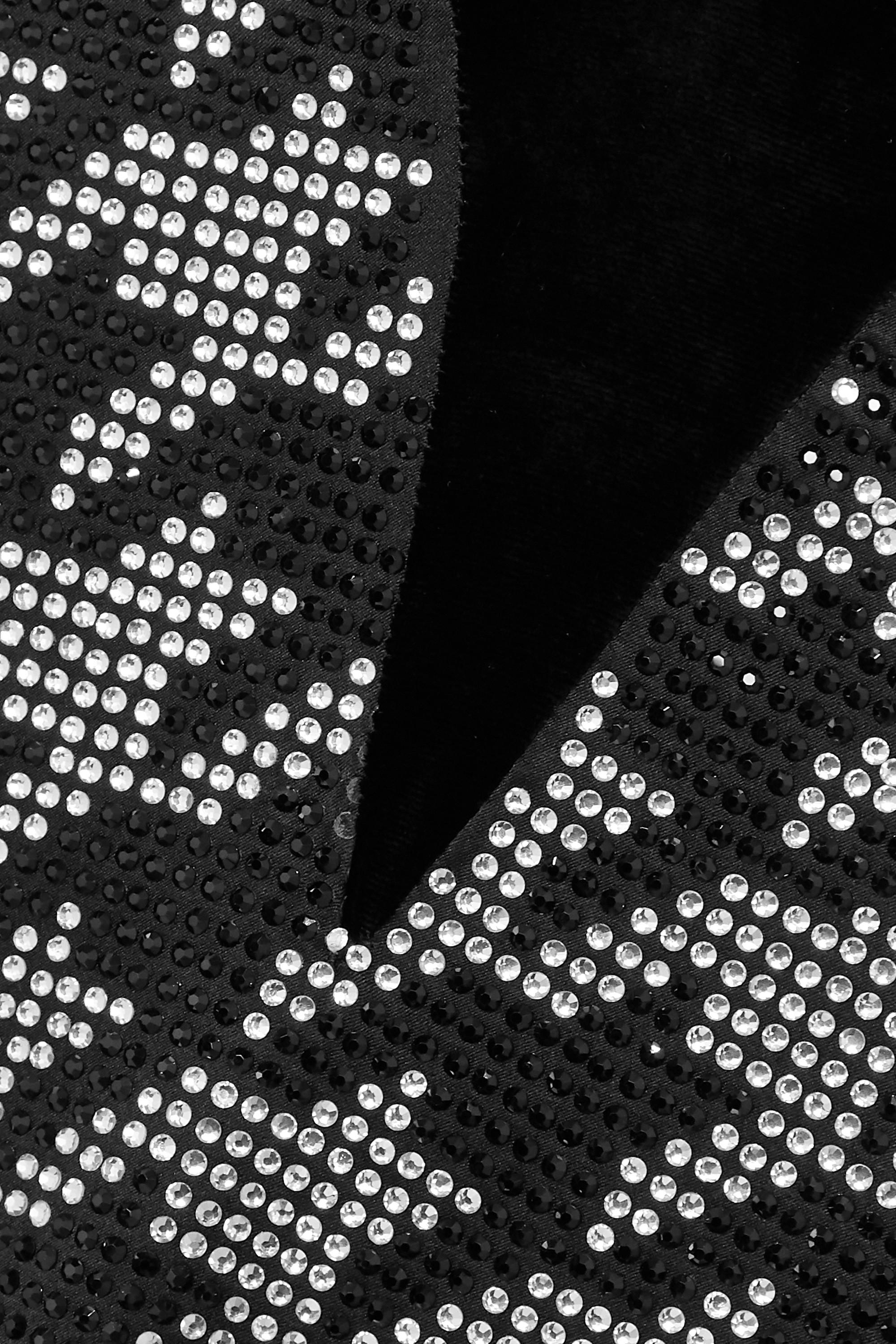 Retrofête Eva Minikleid aus Satin aus einer Seidenmischung und Samt mit Hahnentrittmuster und Kristallen