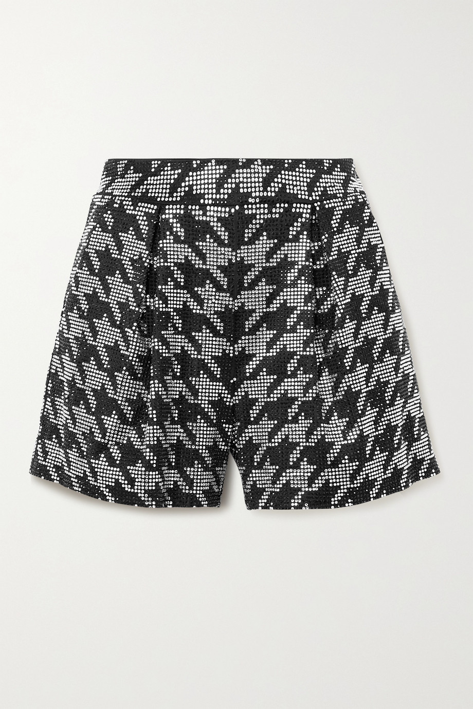 Retrofête Clara crystal-embellished houndstooth satin shorts