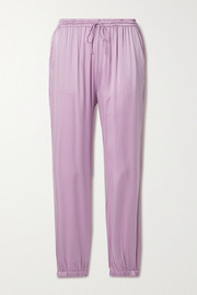 Skin Tamara washed silk-blend satin track pants