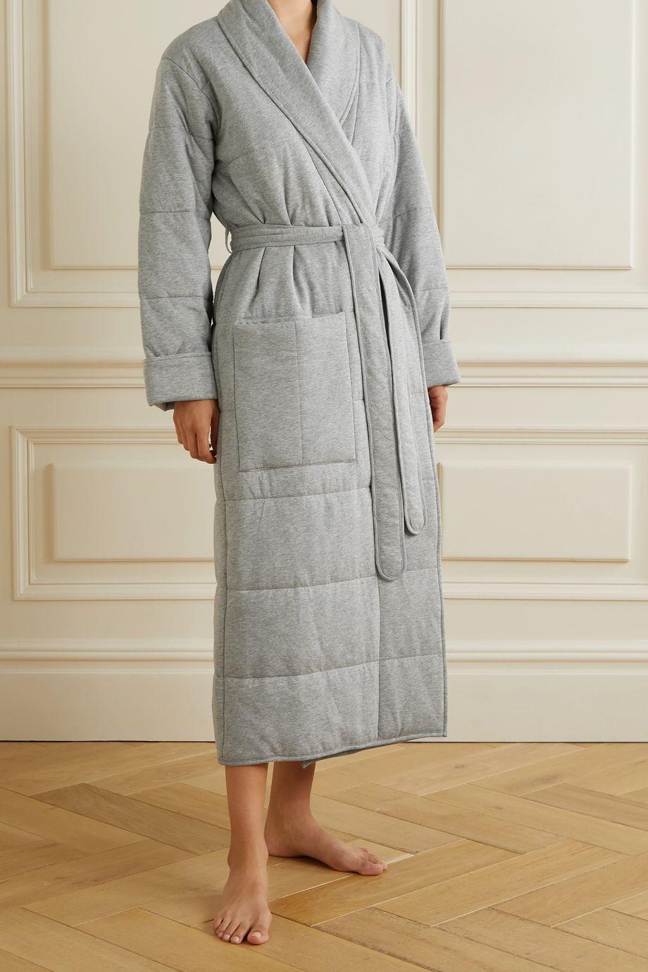 Skin Sierra 绗缝纯棉平纹布睡袍眼罩套装