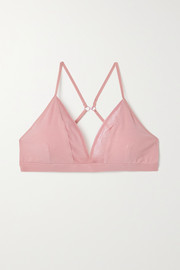Skin + NET SUSTAIN Germaine mesh-trimmed stretch organic Pima cotton-jersey soft-cup bra