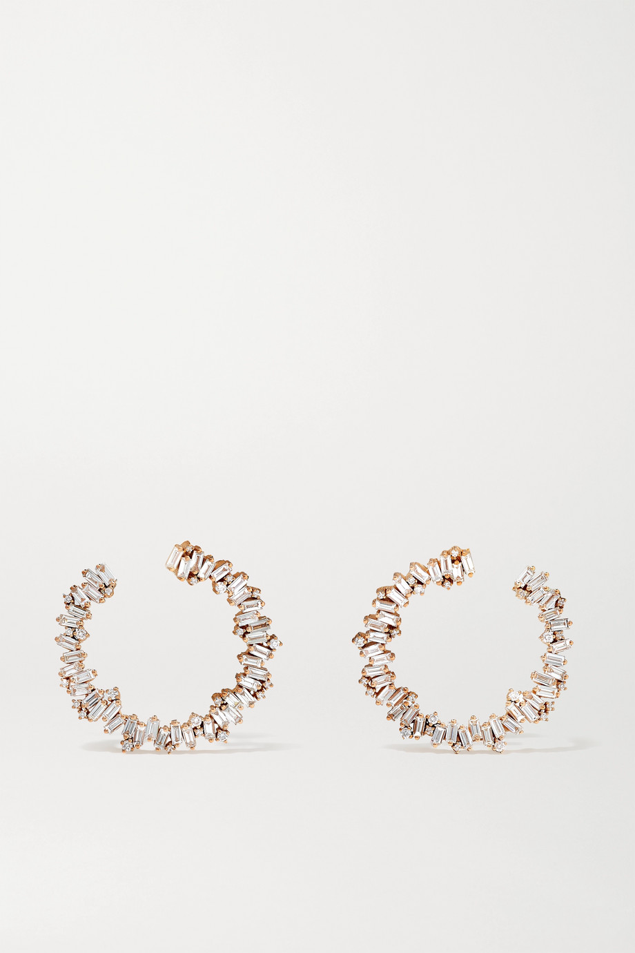 Suzanne Kalan 18-karat rose gold diamond hoop earrings