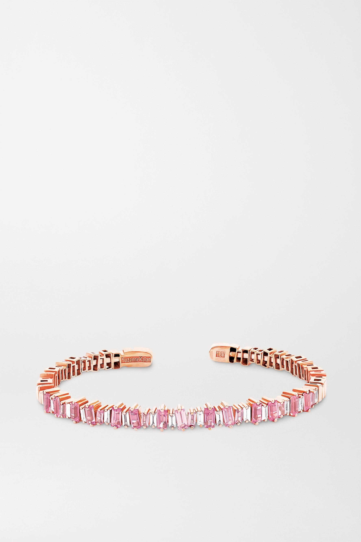 Suzanne Kalan 18-karat rose gold, sapphire and diamond cuff