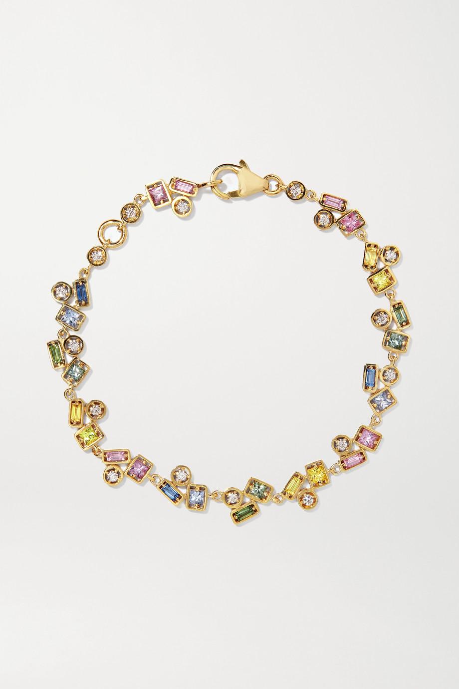 Suzanne Kalan Armband aus 18 Karat Gold mit Diamanten und Saphiren