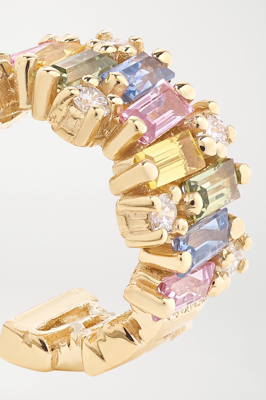 Suzanne Kalan Creolen aus 18 Karat Gold mit Saphiren und Diamanten