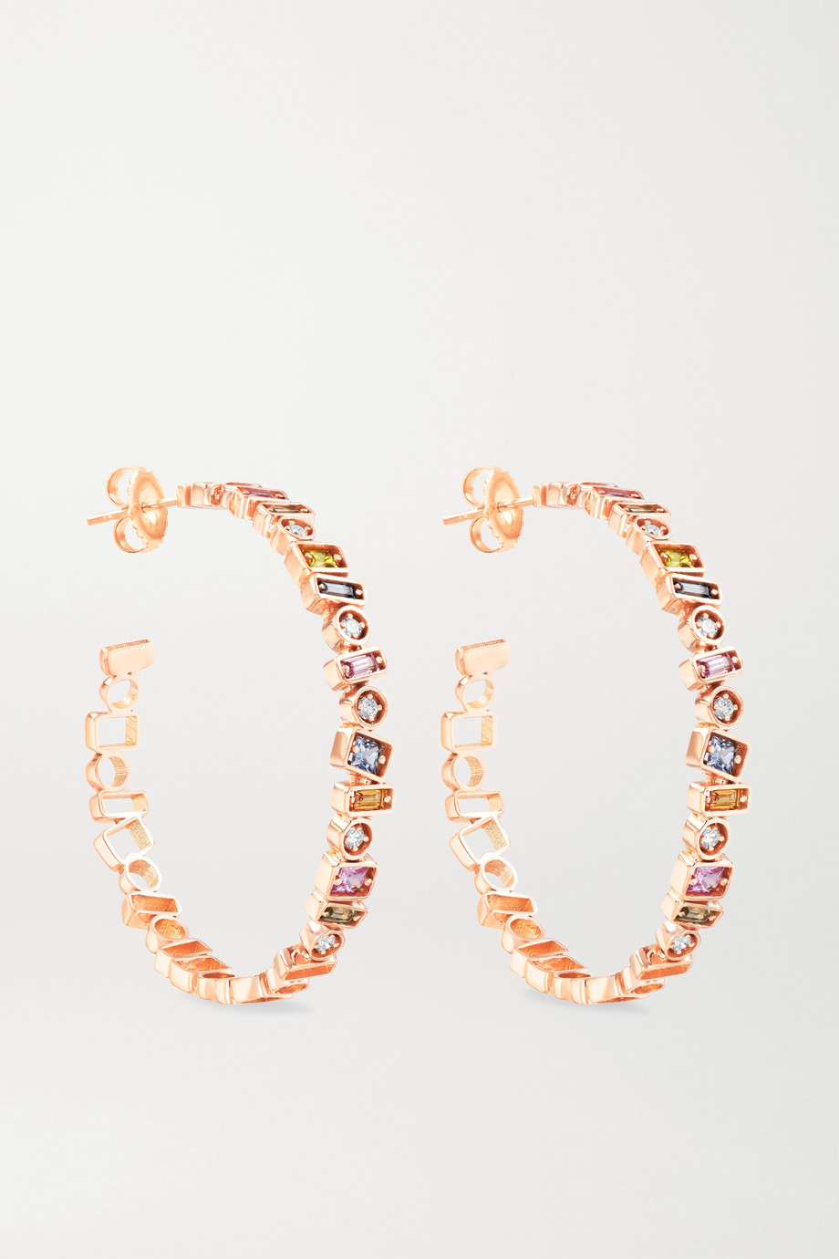Suzanne Kalan 18-karat rose gold, sapphire and diamond hoop earrings
