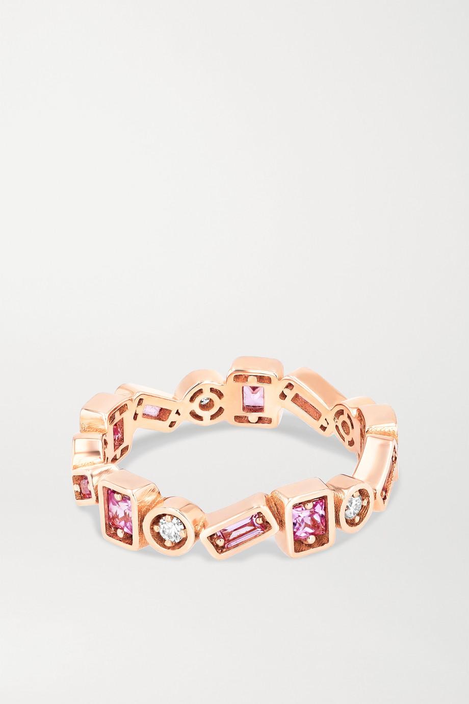 Suzanne Kalan Ring aus 18 Karat Roségold mit Saphiren und Diamanten