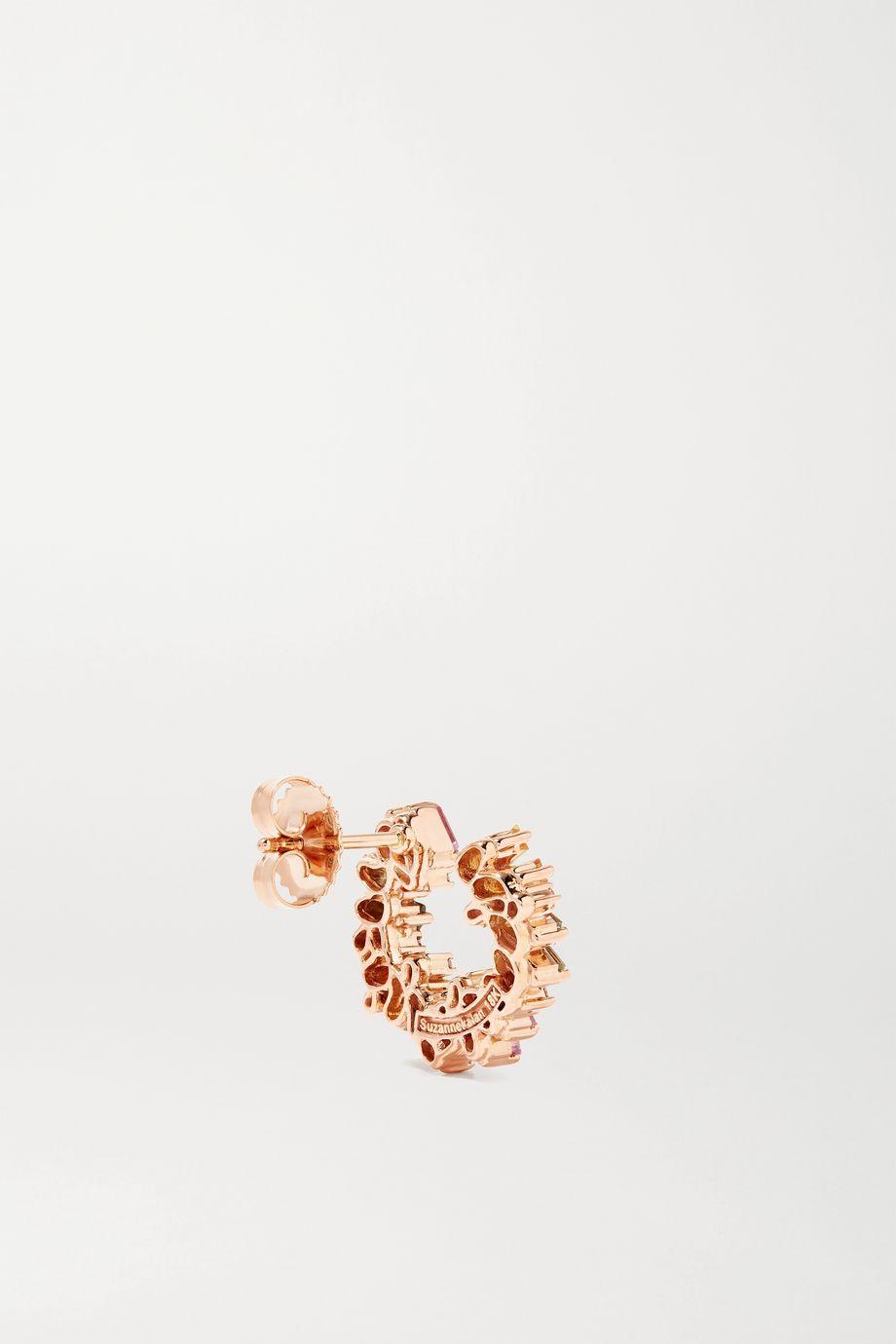 Suzanne Kalan 18-karat rose gold, sapphire and diamond hoop earrings
