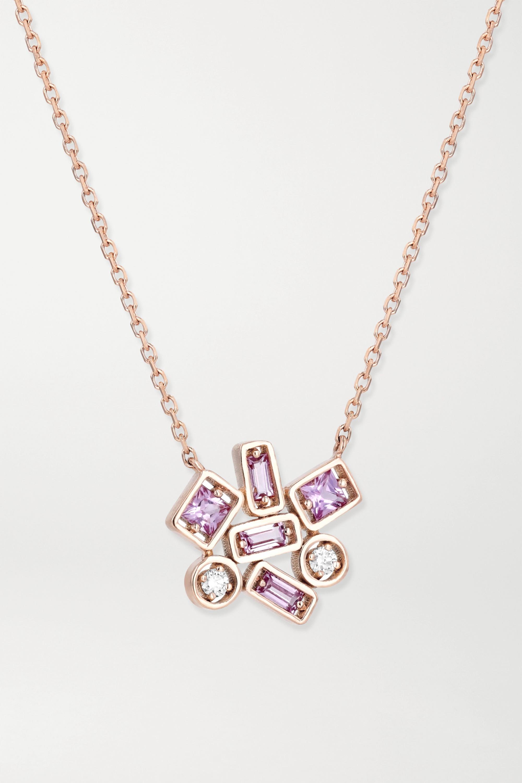 Suzanne Kalan - 18-karat rose gold, sapphire and diamond necklace